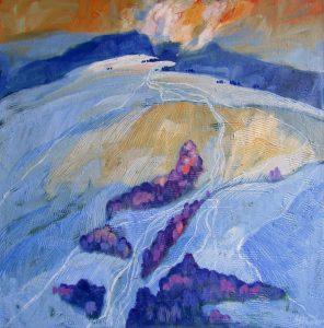 Miroslav-Bucher-Portrét-zeme-Stopy-v-snehu-2-olejomaľba-na-plátne-dielo