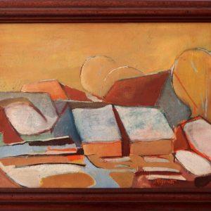 ladislav majorosi - strechy 3, olej na sololite, 2003