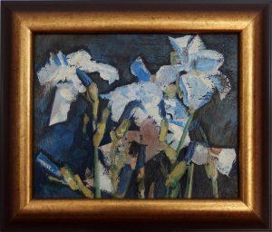 ladislav majorosi - kosatce (modre), olej na sololite, 1998