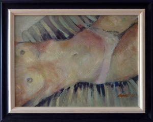 ladislav majorosi - leziaca, olej na sololite, 1999