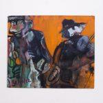 Dušan Scholtz - All That Jazz, olejomaľba na kartóne, 27,5 x 32 cm, s paspartou 40 x 44 cm, 2019
