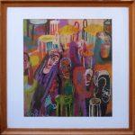 Dušan Scholtz - Prístav piatej cenovej, pastel na kartóne, 45 x 49,5 cm, s dreveným rámom pod sklom 68 x 68 cm, 2004