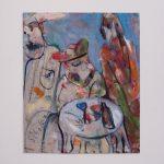 Dušan Scholtz - Tri grácie, olejomaľba na kartóne, 28 x 34 cm, s paspartou 40 x 46 cm, 2019