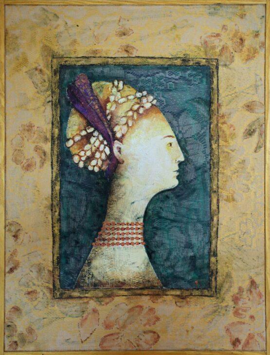 Miriam-Kavuličová-Tomašiaková-Venované-Frederice-da-Montefeltro-autorská-technika-na-plátne-dielo
