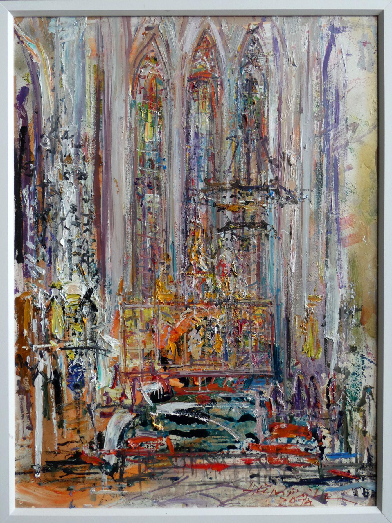 Hubert Čepiššák – Dóm sv. Alžbety, olejomaľba na sololite, 80 x 60 cm, 2019