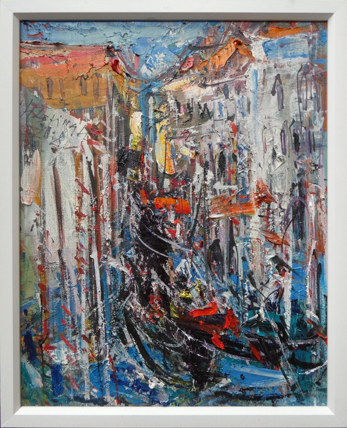 Hubert Čepiššák – Kanály v Benátkach, olejomaľba na plátne, 50 x 40 cm, 2019