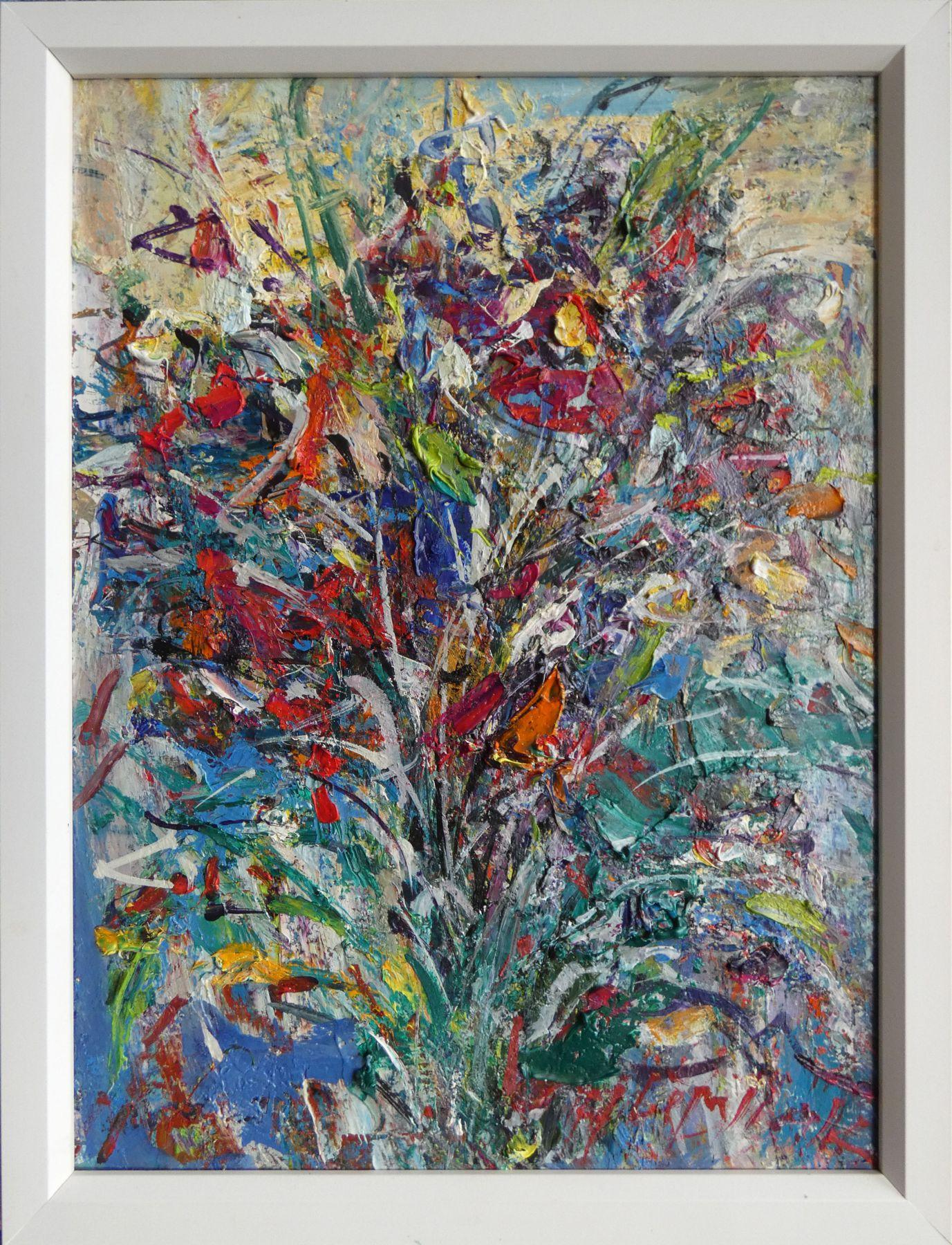 Hubert Čepiššák – Kytica,olejomaľba na sololite,40 x 30 cm, 2018
