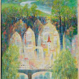 Ján-Bartko-Krásna-biela-rybárka-na-moste-olejomaľba-na-plátne-umelecke-dielo