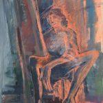 Miro Pribiš - Čakanie na múzu, kombinácia techník na papieri, 62 x 45 cm, 1991