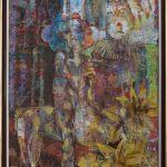 Miro Pribiš - Žltá ľalia, kombinácia techník na papieri, 84 x 66 cm, 91,5 x 73 cm s rámom, 2020