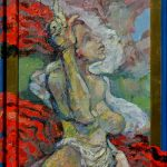 Miro Pribiš - Kam čert nemôže, olejomaľba na sololite, 76,5 x 34,5 cm s rámom, 2020