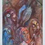 Miro Pribiš - Strach, kombinácia techník na papieri, 90 x 66 cm, 1993