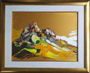 Tomáš-Turzák-Spišský-hrad-v-expresii-akryl-na-plátne-a-zlatý-pigment-umelecke-dielo