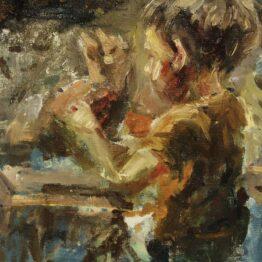 Gabriel-Kurák-Malý-chlapec-a-mačka-olejomaľba-na-plátne-vytvarne-umenie