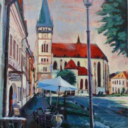 Ivan-Soroka-Bardejov-námestie-akryl-na-plátne-slovensky-maliar