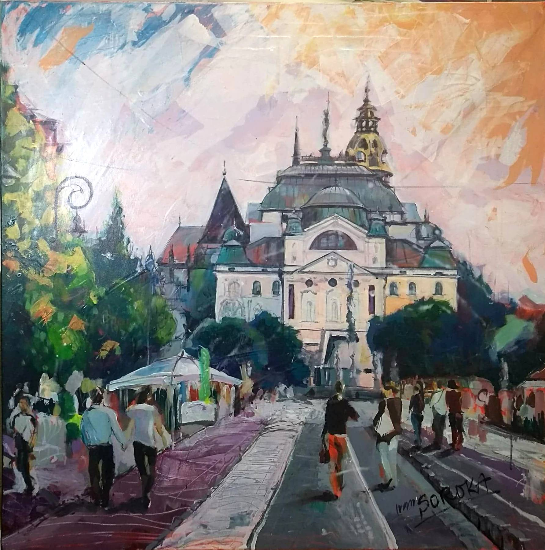 Ivan Soroka – Košice, Hlavná, akryl na plátne