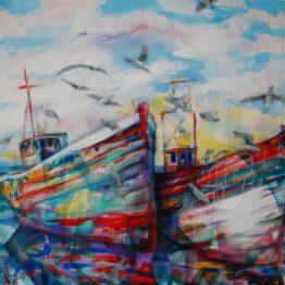 Stano-Barta-Cheeky-seaguls-kombinovaná-technika-na-plátne-umelecke-dielo
