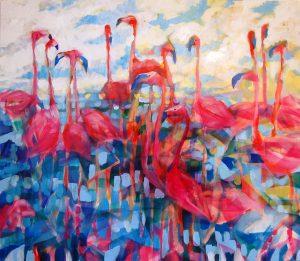 Stano-Barta-Flamingo-birds-kombinovaná-technika-na-plátne-predaj-obrazov