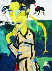 Stano-Barta-Japonka-so-žltým-psom-kombinovaná-technika-na-plátne-predaj-obrazov