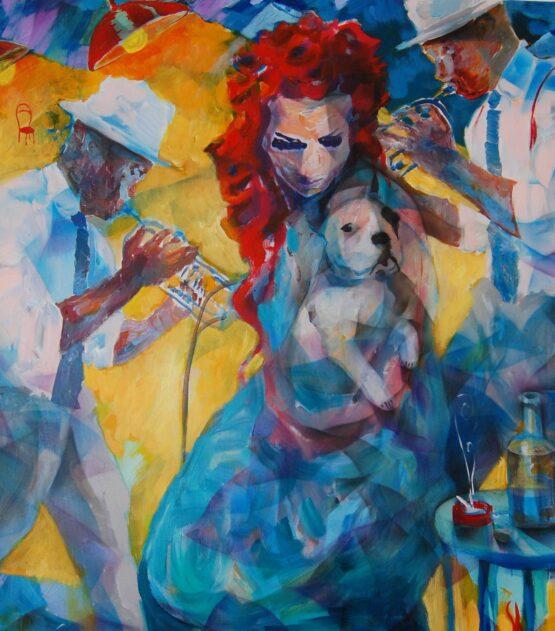 Stano-Barta-Jazz-s-červenou-stoličkou-a-malým-psom-kombinovaná-technika-na-plátne-umelec