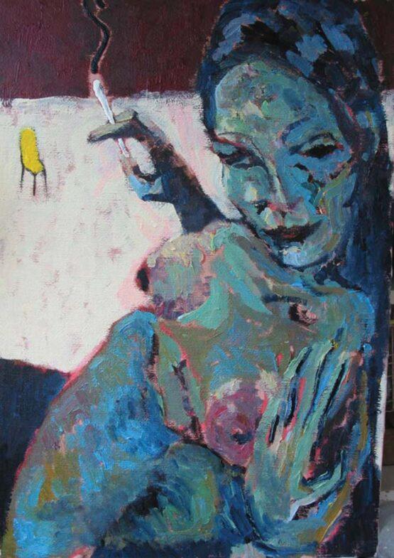 Stano-Barta-Modrý-akt-olej-a-akryl-na-plátne-predaj-obrazov