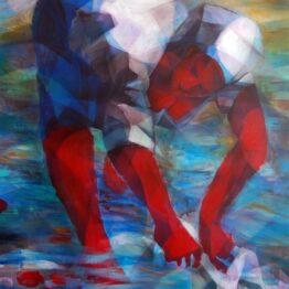 Stano-Barta-Washerwife-kombinovaná-technika-na-plátne-slovensky-maliar