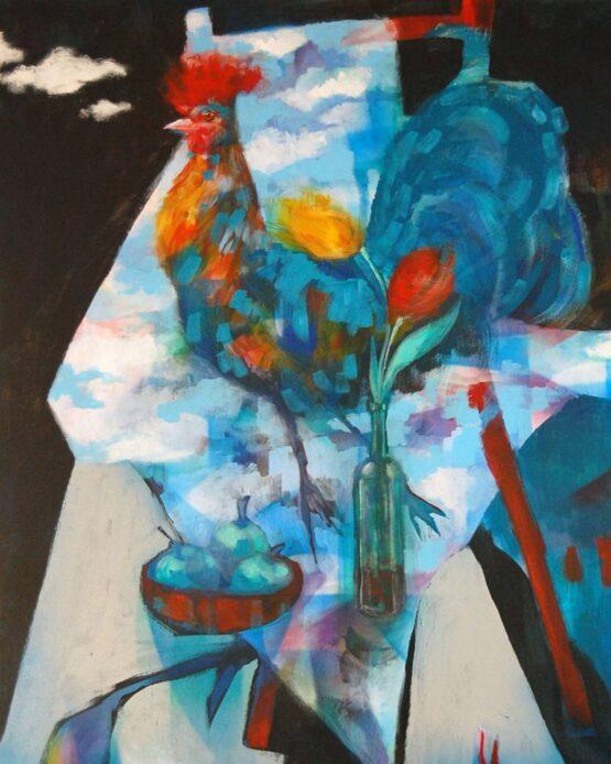 Stano-Barta-Zátišie-asi-s-tulipánmi-kombinovaná-technika-na-plátne-vytvarne-umenie