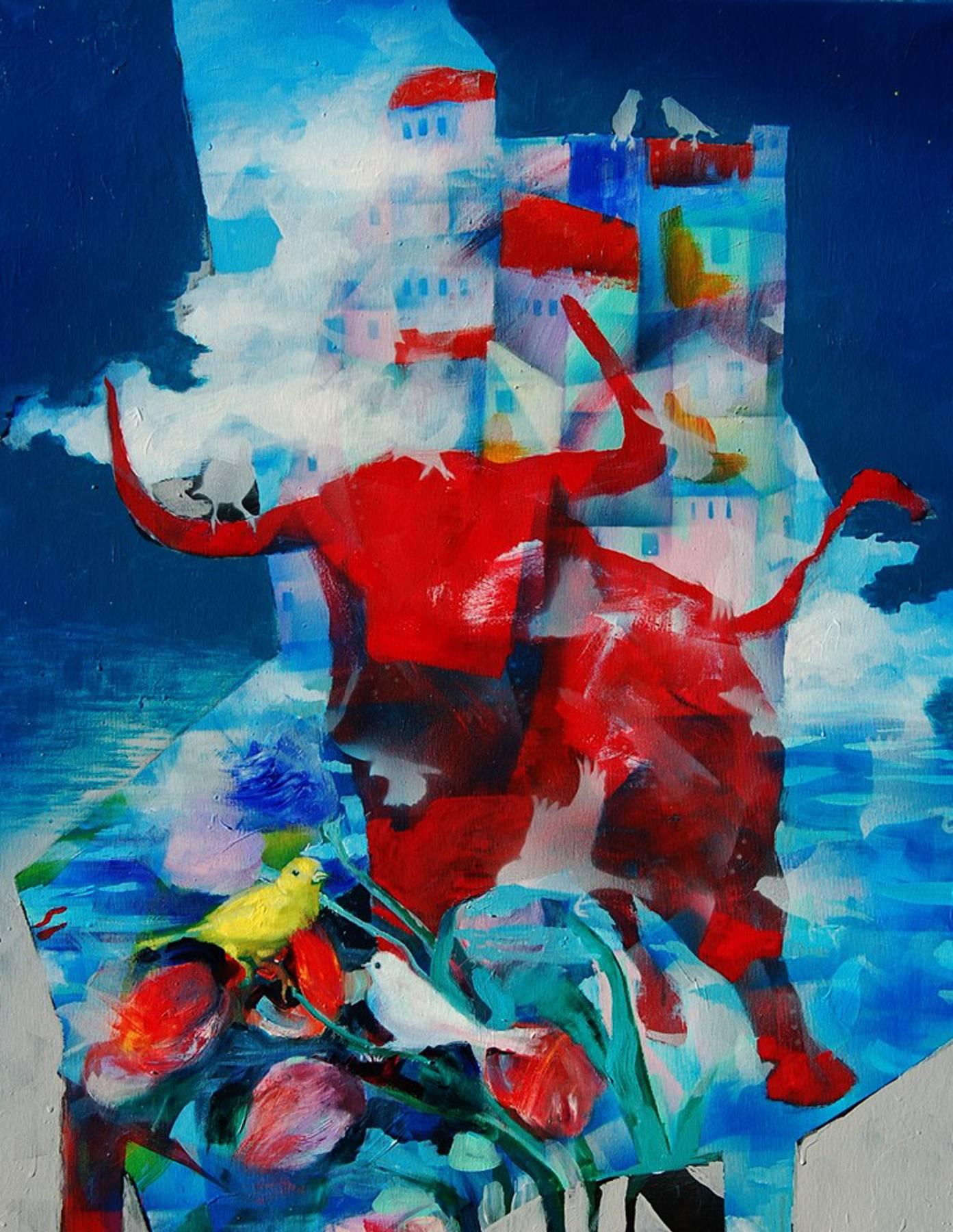 Stano Barta – Zátišie s nebezpečenstvom, kombinovaná technika na plátne, 2019
