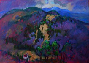 Miroslav-Bucher-–-Portrét-zeme-–Fialové-variácie-olejomaľba-na-plátne-predaj-obrazov