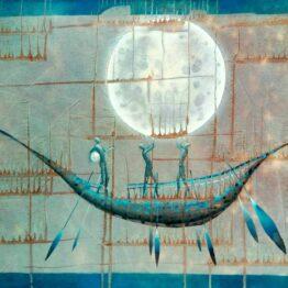 Norbert-Judt-Modrá-loďka-kombinovaná-technika-na-plátne-vytvarne-umenie