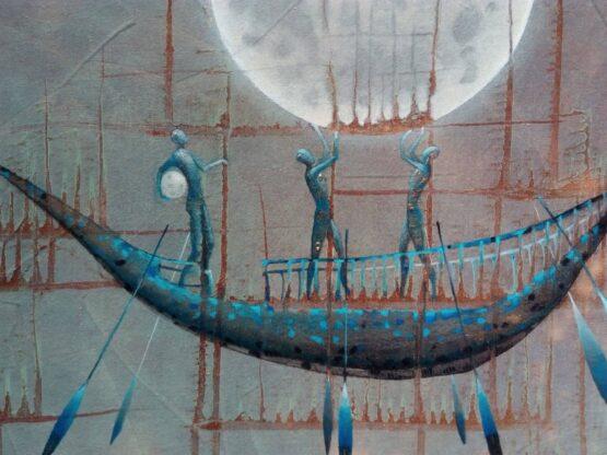 Norbert-Judt-Modrá-loďka-kombinovaná-technika-na-plátne-umelecke-dielo