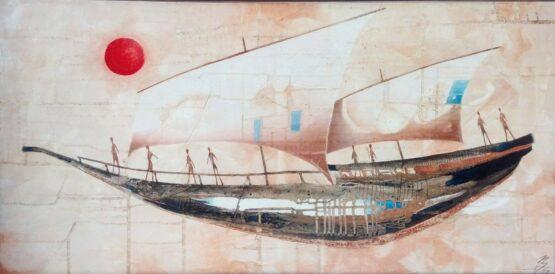 Norbert-Judt-Plavba-do-Japonska-kombinovaná-technika-na-plátne-umelecke-dielo