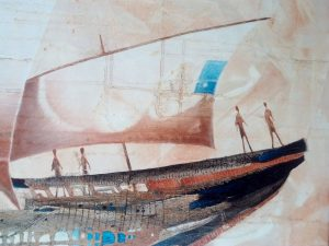 Norbert-Judt-Plavba-do-Japonska-kombinovaná-technika-na-plátne-slovensky-maliar