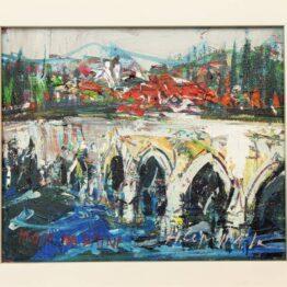 Hubert-Čepiššák-–-Most-na-Drine-olejomaľba-na-plátne-vytvarne-umenie