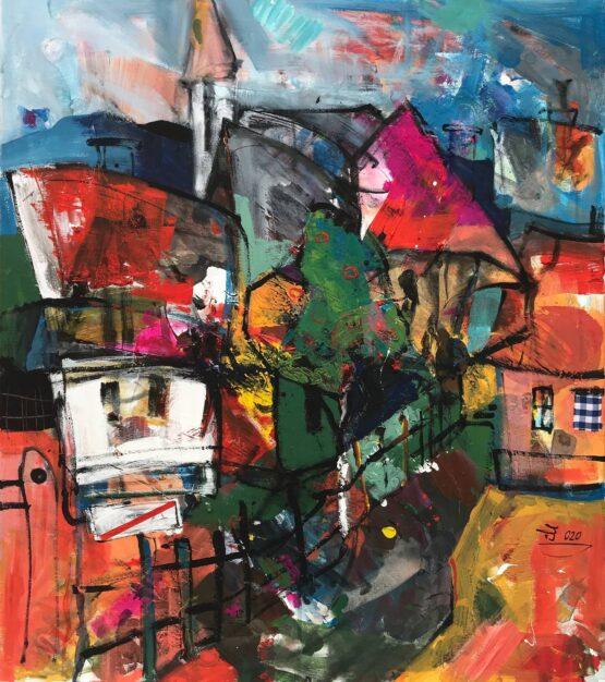 Jonsy-Gáll-–-Na-konci-dediny-akryl-na-plátne-slovensky-umelec