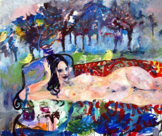 Stano-Barta-Raňajky-opäť-v-tráve-kombinovaná-technika-na-plátne-predajna-galeria