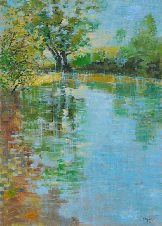 Ján-Bartko-–-Jarná-rieka-Torysa-olejomaľba-na-sololite-predajna-galeria