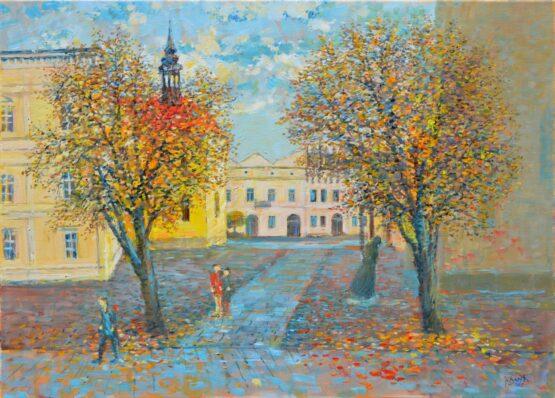 Ján-Bartko-–-Medzi-kostolmi-Jeseň-olejomaľba-na-plátne-presovsky-umelec