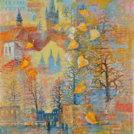 Ján-Bartko-–-Prešov-Zlatá-jeseň-olejomaľba-na-plátne-umelecke-dielo