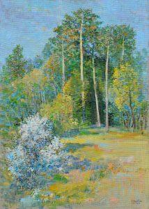 Ján-Bartko-–-Pri-jarnom-lese-olejomaľba-na-sololite-vytvarne-umenie