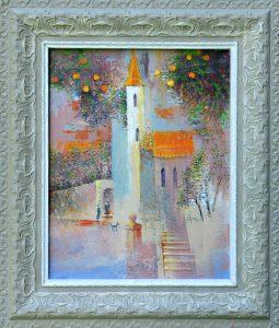 Ján-Bartko-–-Vôňa-jabloní-a-kostola-olejomaľba-na-plátne-dielo