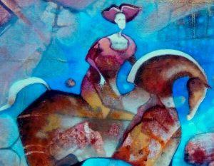 Norbert-Judt-–-Modrý-sen-kombinovaná-technika-na-plátne-slovensky-umelec