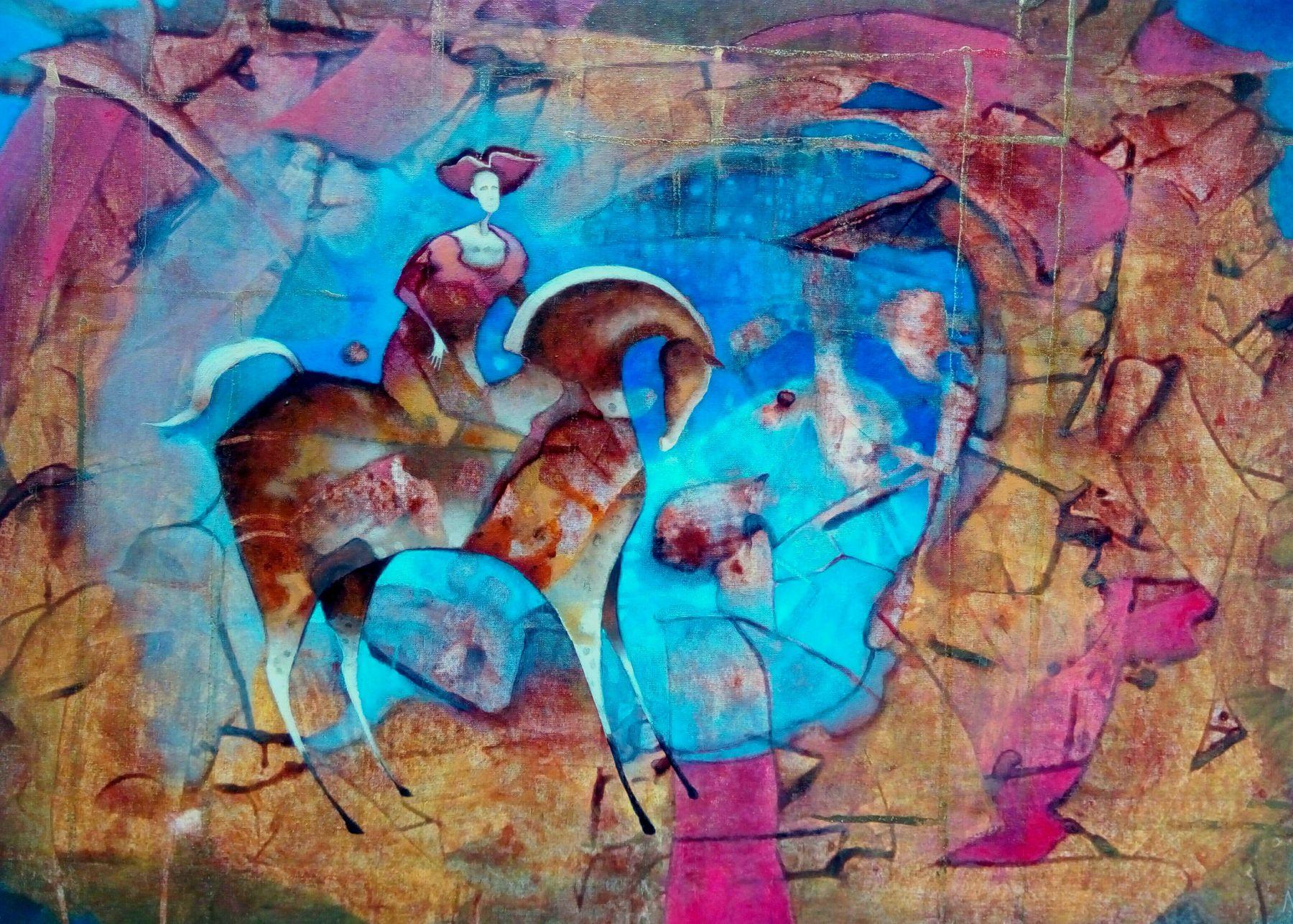 Norbert Judt – Modrý sen, kombinovaná technika na plátne, 2017