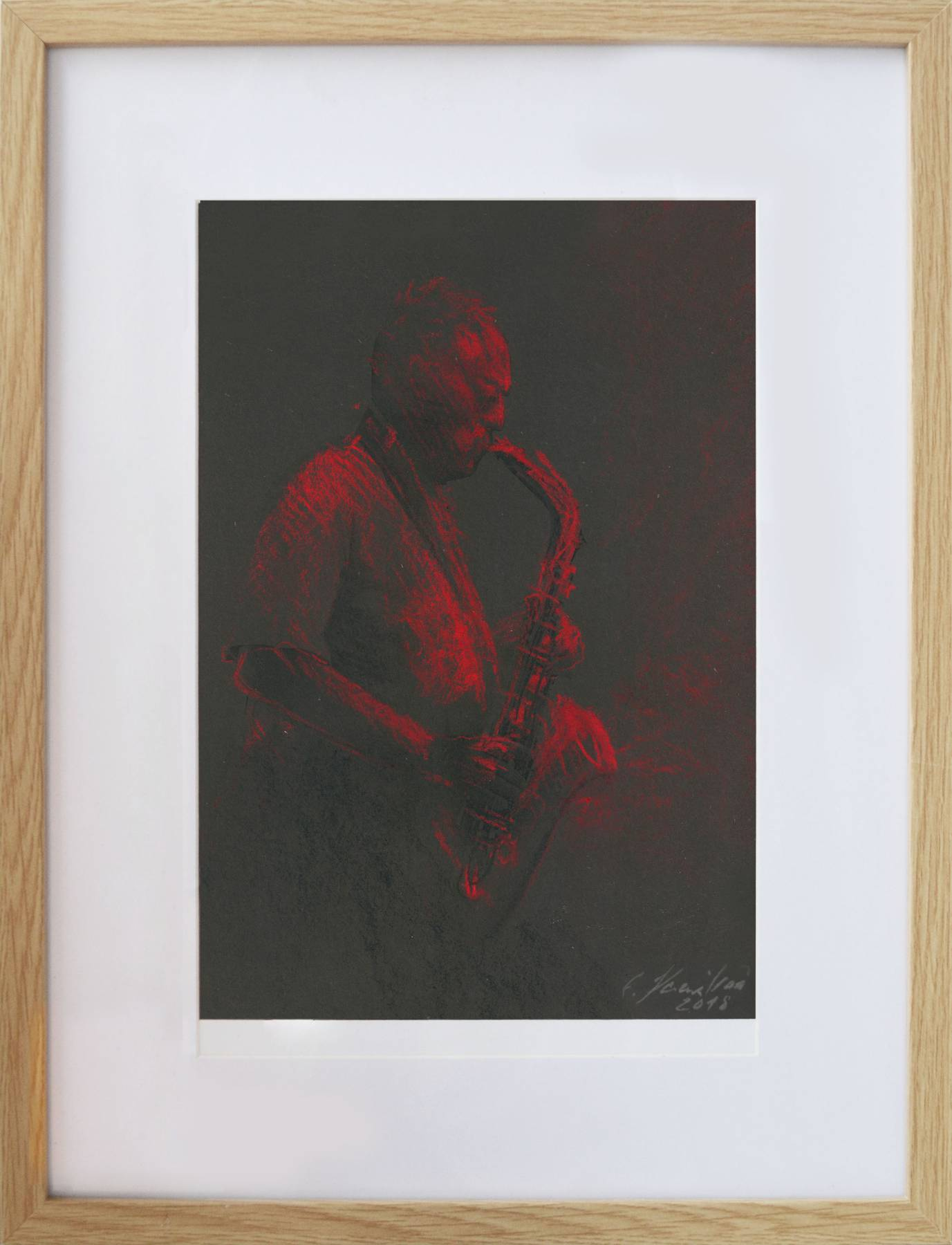Eva Kornuciková – David Gilmour Red sky at night, suchý pastel, 2018