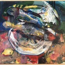 Jonsy-Gáll-Budú-ryby-akryl-na-plátne-originalne-umenie-predaj