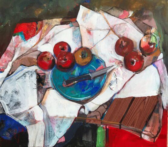 Jonsy-Gáll-Zátišie-s-nožom-a-jablkami-kombinácia-techník-na-plátne-predaj-obrazov