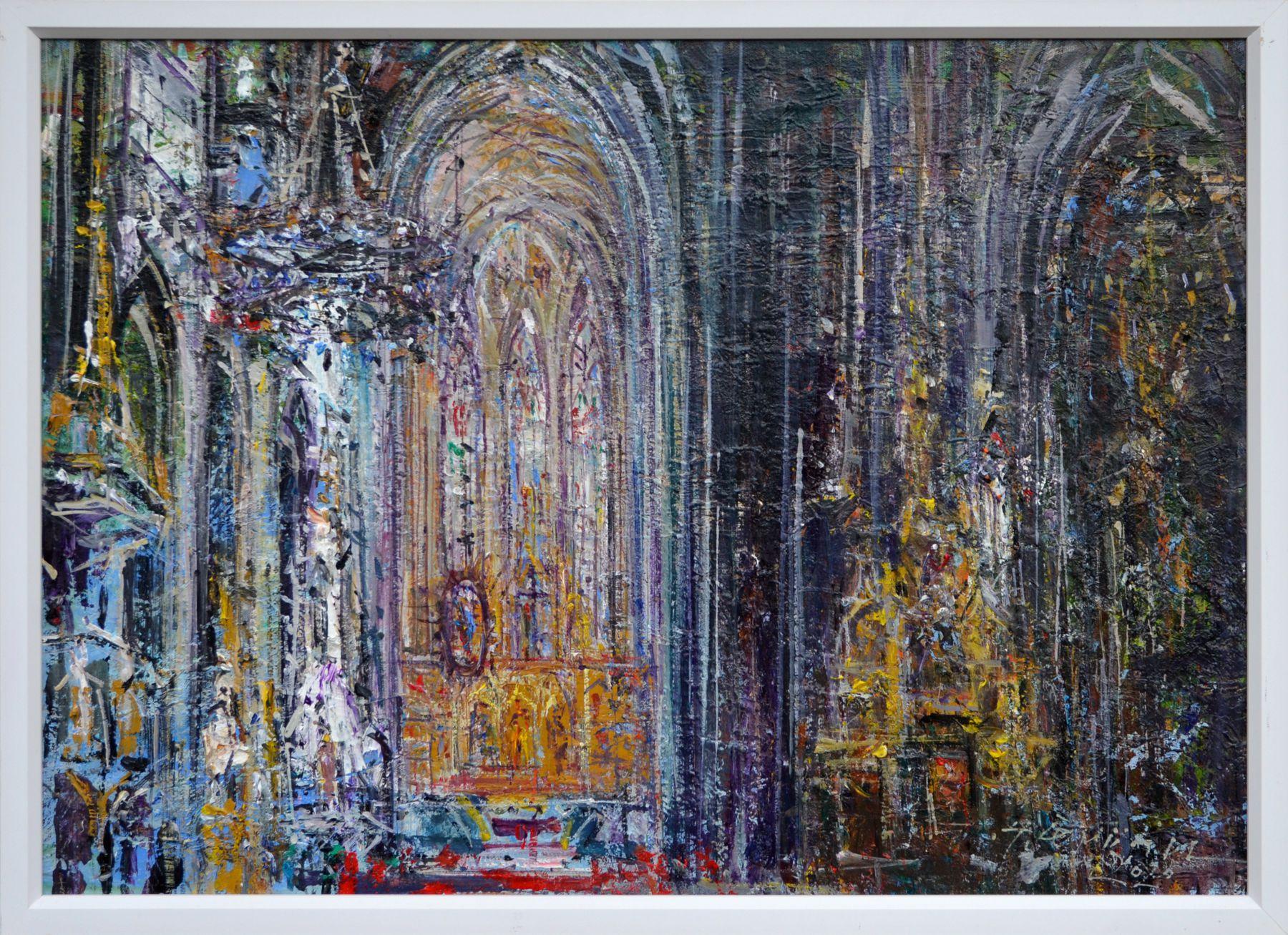 Hubert Čepiššák – Ticho katedrály 1, olejomaľba na plátne, 2020
