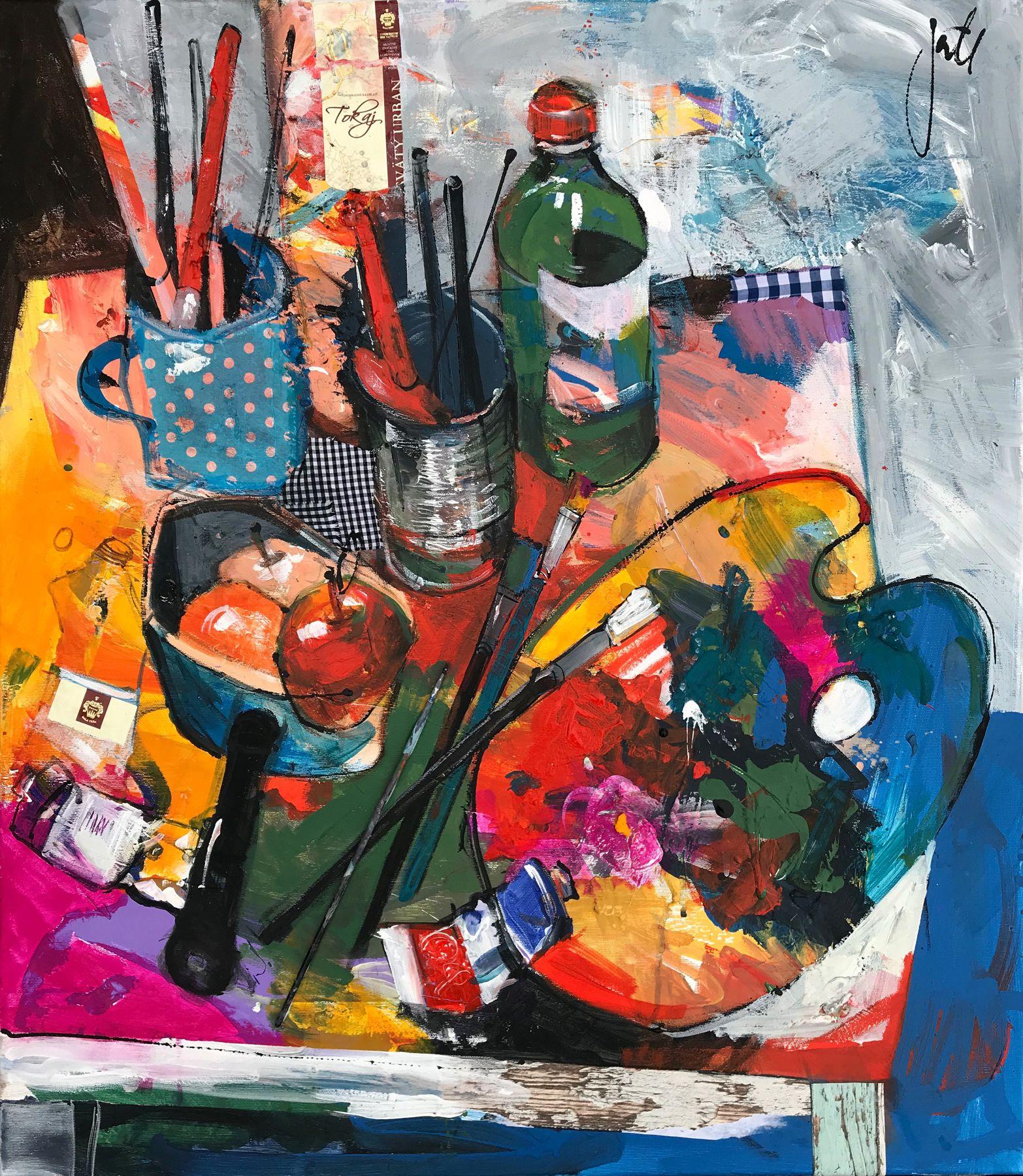 Jonsy Gáll – Bežný okamih, kombinovaná technika na plátne, 70 x 80 cm