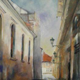 Margita-Rešovská-–-Františkánska-ulička-v-Košiciach-2016-akryl-plátno-dielo