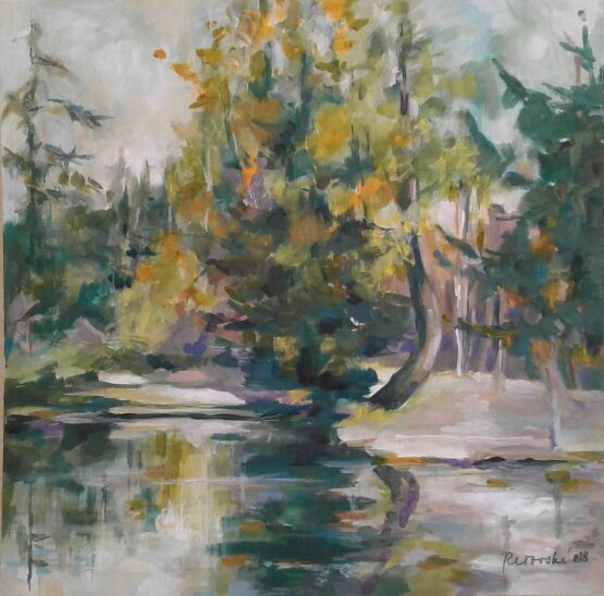 Margita-Rešovská-–-Jazierko-lásky-na-Štrbskom-Plese-akryl.-plátno-malba